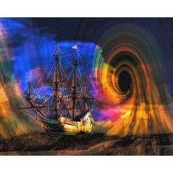 Tablou Canvas Abstract 334 80 x 60 cm Rama lemn Multicolor Tablouri