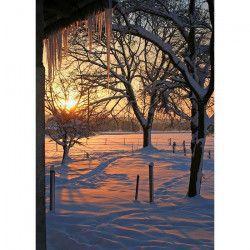 Tablou Canvas Apus de iarna 50 x 70 cm Rama lemn Multicolor Tablouri