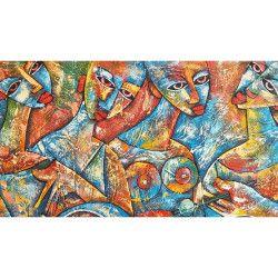 Tablou Canvas Arta moderna Femei 60 x 45 cm Rama lemn Multicolor Tablouri