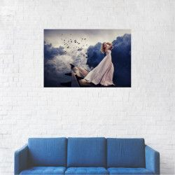 Tablou Canvas Artistic Femeie pe aripa de avion 20 x 30 cm Tablouri