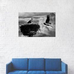 Tablou Canvas Barza si puiul alb-negru 20 x 30 cm Tablouri