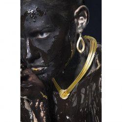 Tablou Canvas Black and gold 60 x 90 cm Rama lemn Multicolor Tablouri