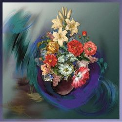 Tablou Canvas Buchet de flori 70 x 70 cm Multicolor Tablouri