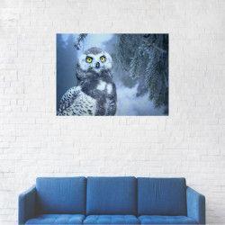 Tablou Canvas Bufnita polara plina de zapada 20 x 25 cm Tablouri