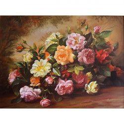 Tablou Canvas Tablou bujori 60 x45 cm Rama lemn Multicolor Tablouri