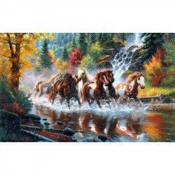 Tablou Canvas Cai alergand prin apa 688 80 x 50 cm Rama lemn Multicolor Tablouri
