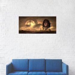 Tablou Canvas Ceasuri Femeie Soare cu fum 20 x 40 cm Tablouri