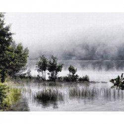 Tablou Canvas Ceata de dimineata 90 x 60 cm Rama lemn Multicolor Tablouri