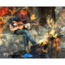 Tablou Canvas Chitarist 80 x 60 cm Rama lemn Multicolor Tablouri