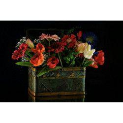Tablou Canvas Cos cu flori 80 x 50 cm Rama lemn Multicolor Tablouri
