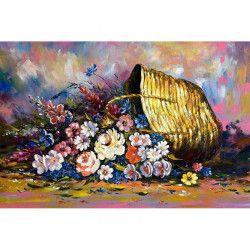 Tablou Canvas Cos cu flori 90 x 60 cm Multicolor