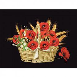 Tablou Canvas Cos cu maci rosii 80 x 60 cm Rama lemn Multicolor Tablouri