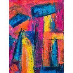Tablou Canvas Culori 60 x 80 cm Rama lemn Multicolor Tablouri