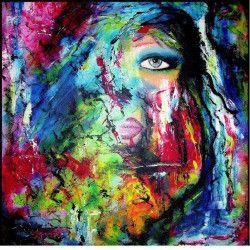Tablou Canvas Culori 70 x 70 cm Rama lemn Multicolor Tablouri