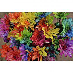 Tablou Canvas Curcubeu de flori 90 x 60 cm Rama lemn Multicolor Tablouri