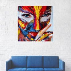 Tablou Canvas Femeie cu fata pictata 70 x 70 cm Tablouri