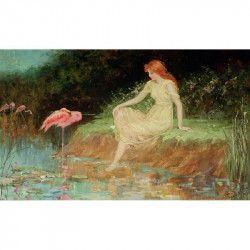 Tablou Canvas Flamingo 80 x 50 cm Rama lemn Multicolor Tablouri