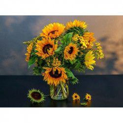 Tablou Canvas Floarea soarelui in vaza 80 x 60 cm Multicolor