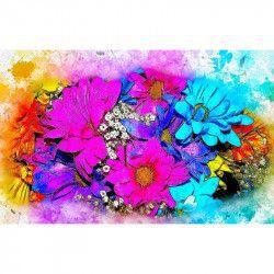 Tablou Canvas Flori colorate 90 x 60 cm Rama lemn Multicolor Tablouri