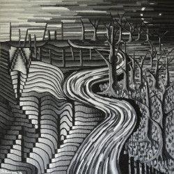 Tablou Canvas Grey abstract 70 x 70 cm Rama lemn Multicolor Tablouri