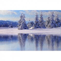 Tablou Canvas Iarna de poveste 80 x 50 cm Rama lemn Multicolor Tablouri