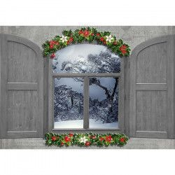 Tablou Canvas Iarna la fereastra 70 x 50 cm Rama lemn Multicolor Tablouri