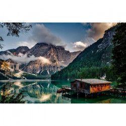 Tablou Canvas Lac de munte 399 80 x 50 cm Rama lemn Multicolor Tablouri