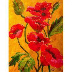 Tablou Canvas Maci rosii 1267 60 x 80 cm Rama lemn Multicolor Tablouri