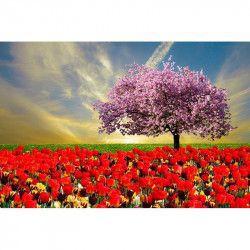 Tablou Canvas Magnolie si lalele 80 x 50 cm Rama lemn Multicolor Tablouri