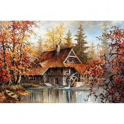Tablou Canvas Moara de apa 60 x 40 cm Rama lemn Multicolor