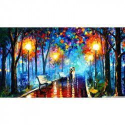 Tablou Canvas Noapte in parc 90 x 50 cm Rama lemn Multicolor Tablouri