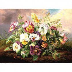 Tablou Canvas Panselute Vas cu flori 80 x 60 cm Multicolor