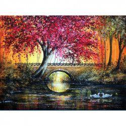 Tablou Canvas Parc toamna 80 x 60 cm Rama lemn Multicolor Tablouri
