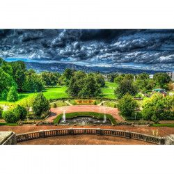 Tablou Canvas Parc verde Cer innorat 90 x 60 cm Rama lemn Multicolor Tablouri