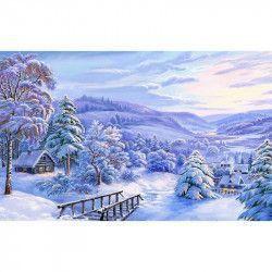 Tablou Canvas Peisaj de iarna 2 80 x 50 cm Rama lemn Multicolor Tablouri