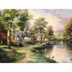 Tablou Canvas Peisaj de toamna Rau Copaci Casute 80 x 60 cm Multicolor