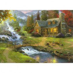 Tablou Canvas Peisaj Toamna Rau Munte Copaci Casuta 70 x 50 cm Multicolor