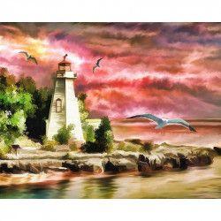 Tablou Canvas Pescarusi la far 80 x 60 cm Rama lemn Multicolor Tablouri