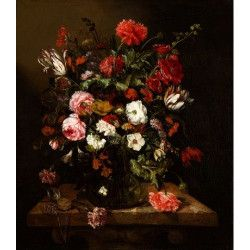 Tablou Canvas Pictura Vas cu flori 60 x 80 cm Rama lemn Multicolor Tablouri