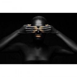 Tablou Canvas Portret de femeie Black woman closes her eyes 90 x 60 cm Multicolor