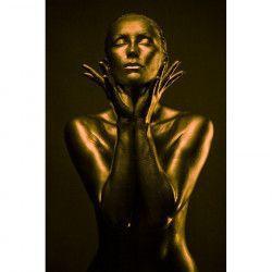 Tablou Canvas Portret de femeie Golden woman 60 x 90 cm Multicolor