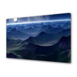 Tablou Canvas Premium Peisaj Multicolor Peisaj albastru cu luna plina Decoratiuni Moderne pentru Casa 80 x 160 cm Tablouri