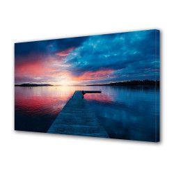 Tablou Canvas Premium Peisaj Multicolor Apus colorat vazut de pe ponton Decoratiuni Moderne pentru Casa 80 x 160 cm Tablouri