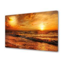 Tablou Canvas Premium Peisaj Multicolor Apus portocaliu la malul apei Decoratiuni Moderne pentru Casa 80 x 160 cm Tablouri