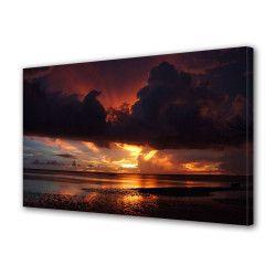 Tablou Canvas Premium Peisaj Multicolor Apus rosiatic la mal Decoratiuni Moderne pentru Casa 80 x 160 cm Tablouri