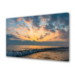 Tablou Canvas Premium Peisaj Multicolor Apus si valuri la mare Decoratiuni Moderne pentru Casa 80 x 160 cm Tablouri