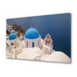 Tablou Canvas Premium Peisaj Multicolor Biserica langa apa Decoratiuni Moderne pentru Casa 80 x 160 cm Tablouri
