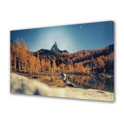 Tablou Canvas Premium Peisaj Multicolor Brazi uscati langa apa Decoratiuni Moderne pentru Casa 80 x 160 cm Tablouri