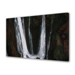 Tablou Canvas Premium Peisaj Multicolor Cascada intre stanci Decoratiuni Moderne pentru Casa 80 x 160 cm Tablouri