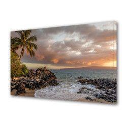 Tablou Canvas Premium Peisaj Multicolor Peisaj cu palmier langa mare Decoratiuni Moderne pentru Casa 80 x 160 cm Tablouri
